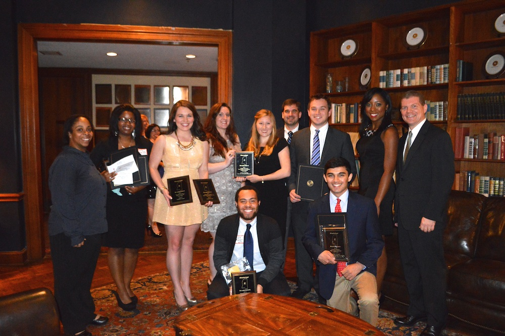 Meek School students and alumni: Standing left to right, Erica Davis, Ferderica Cobb, Margaret Ann Morgan, Charlotte Roi, Camille Mullins, Ryan Moore, Browning Stubbs, Candace Coleman, Wilson Stribling. Kneeling, left to right, Gerard Manogin and Sudu Upadhyay.