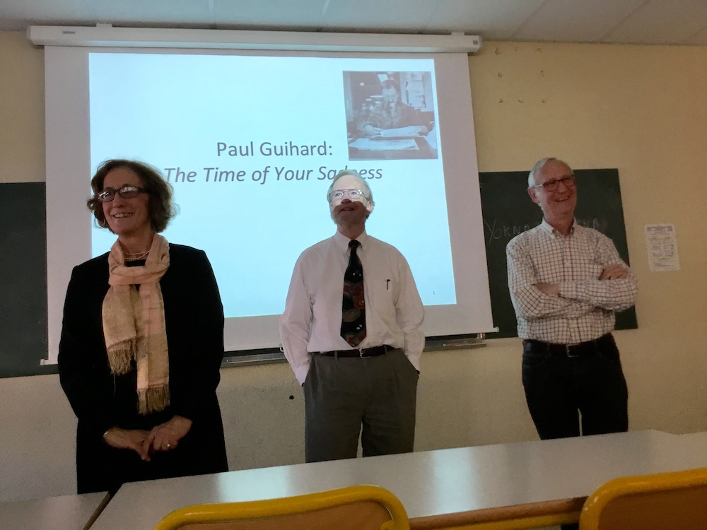 Dr. Kathleen Wickham, Larry Wells and Alain Guihard field questions at Rennes University lecture.
