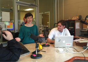 Amy Hornsby meets with sports DJs in the Rebel Radio studio