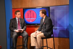Browning Stubbs interviews Athletics Director Ross Bjork in the NewsWatch studio
