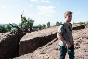 Logan Kirkland on assignment in Lalibela, Ethiopia